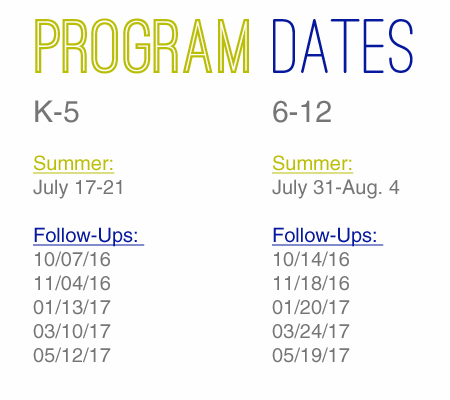 Program Dates 2016 - Clean